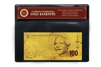 SOUTH AFRICA 100 Rand Gold Banknote Plated With Pure 99.9% 24K Gold With COA frame