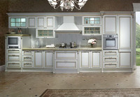 White Elegant Solid Wood Carve Kitchen Furniture in French Style,Vintage Kitchen Cabinet(BF08-7065)