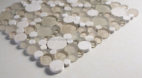 Bubbles Crema Marfil Polished-Froasted Marble & Glass Mosaic Tile