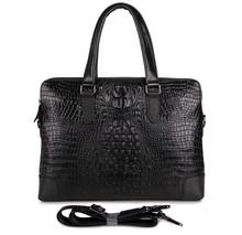 7276A Crocodile Pattern Genuine Cow Leather Unisex Fashion Handbag
