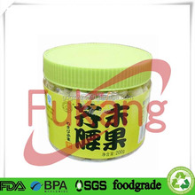450ml PET clear plastic food garde round jar packaging Mustard Cashew wholesale for Japan