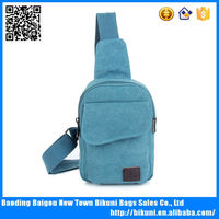 Men and women canvas sport messenger bag and Chest Bag cheap blue canvas chest bag
