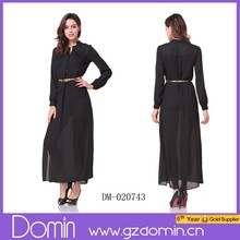 2015 Long Sleeve Maxi Dress chiffon Fashion Dress Floor Length Women Dress