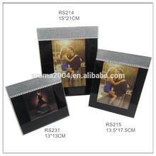 Negro y plata elegante marco de fotos de vidrio para el hogar