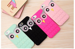 4 colors Silicon cute owl phone case cover for iphone 4 4s 5 5s