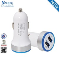 Veaqee most popular products round plug 3.1A double mini usb car charger