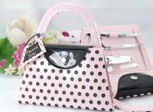 4 pcs Pink Polka Dot Purse Manicure Set Bridal Shower Favours