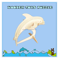2015 new toys for kid educational resources 3d model puzzle craft wood dolphin