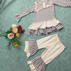 2015 yiwu boutique summer children girls outfits giggle moon remake baby girl stripe clothing sets lovely teen girl set live