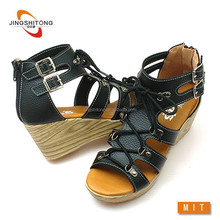 Wedge lace up korean fashion sandals