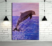 Purple Tone Handmade Abstract Animals Unique Dolphin Oil Painting On Canvas