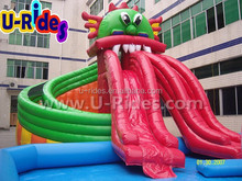 Kids dragon aqua water park with slide and pool