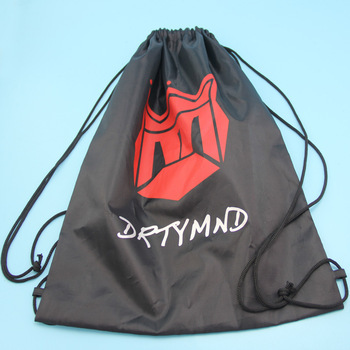 Wholesales Factory price Large black Satin promotional drawstring sport bag with printed logo
