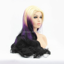 synthetic lavender ombre color fashion new curly lace front wigs for white women