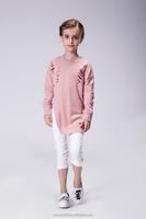 NO MOQ Factory kids pink cotton tshirt girls ruffle shirt tops candy plain knit cotton tshirts design