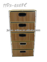 steel storage cabinet with bamboo drawers