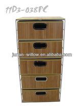 Aço armário de armazenamento com bambu gavetas