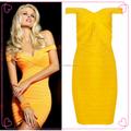 Nuevas mujeres atractivas sin espalda amarillo del banquete de boda vestido del vendaje vestido ajustado