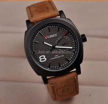 2015 Mens Wrist Watch Curren Waterproof Quartz Men's Military Genuine PU wrist Watch