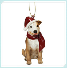 Dog with topper polyresin christmas ornaments tree decoration dog