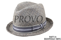high quanlity raffia straw short brim fedora hat for men