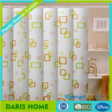 Popular printed hookless PEVA EVA PVC plastic shower curtain