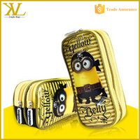 Cartoon Minions two compartments pencil case for kids , fabric students pencil case for school