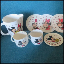 10oz Vintage Minnie mouse Tea Cup Plate Kids Play Set Plastic,wholesale plastic cartoon tea cup with plate for kids suppliers