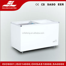 350L Big Capacity glass slidding door showcase SD-350Q/Curved glass door chest freezer
