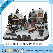 2015 new design Christmas led lighted village house, hand painted ploly resin Christmas decorations, Chinese factory OEM ACCPET