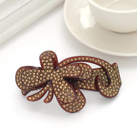 Hot Women Brown Plastic Crystal Butterfly Shaped French Barrette Hair Clips