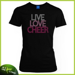 Live Low Cheer Rhinestone Fitted Women T-shirts