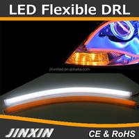 2x45cm Flexible Soft Tube Guide Car LED Strip White DRL Red Turn Signal Lights