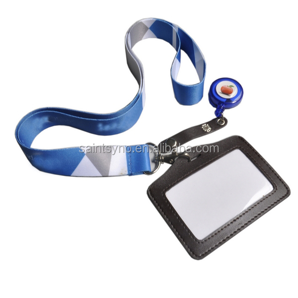 12033A Transparent slim leather id card holder with lanyard
