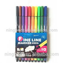 High quality 10 colors plastic fine line pens