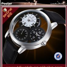 SKONE 9274 Black Leather Band 3 Movement Fashion Leather Skone Wrist Watch