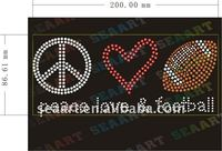Peace and love and football rhinestone heat transfer design