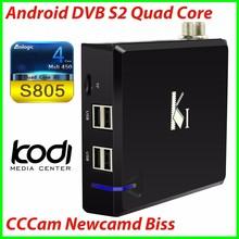 VENZ Quad Core DVB S2 Android TV Box Satellite receiver CCCam Newcamd Biss Amlogic S805 1GB RAM 8GB ROM