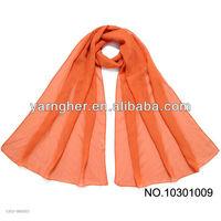 beautiful orange single color chiffon scarf in stock