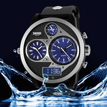 2015 Promotional Big Wrist Three Time Display quality mens 3atm watches
