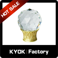 KYOK Delicate bright 25/28 ball curtain finial, classical glass crystal decorative pipe end caps, beauty curtain rod/tube