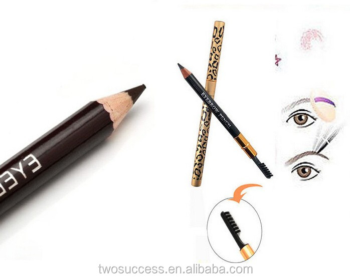 High Quality Leopard Waterproof black Eyebrow Pencil With Brush Make Up black Pencil