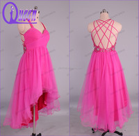 Latest Design Pink Tulle Short Front Long Back Christmas Dress Of Party For Girls of 12 Years 2014
