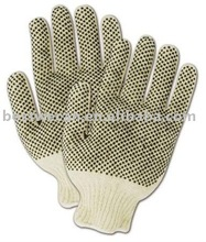 Knit Gloves with Black Plastic Dots