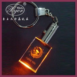 Fancy Cheap Colorful LED Crystal Keychain/Crystal Keyring/Crystal Keyholder