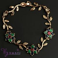 greece new antique gold alloy bangle green crystal olive Leaf bracelet jewelry