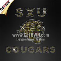 Wholesale rhinestone transfer hot design strong cougars iron on bling