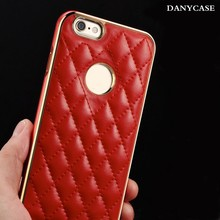 leather cover with metal bumper cell phone case for iphone 6 ,aluminum bumper case for iphone 6 plus