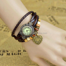 2015 New arrival products crystal case women vintage bangle watch bulk! Hot quartz leather wrap heart women vintage bangle watch
