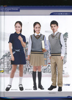 Stripped quality fabric school uniforms with girls skirt